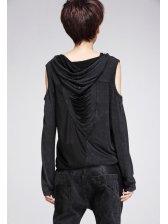 Euro 2014 Winter Top Off Shoulders Gauze Matching Long Sleeve Top Street Style Black T-Shirt