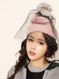 2014 British Style Cap Veil Dot Pattern Cute Cap 2 Colors Street Style Woolen Hat