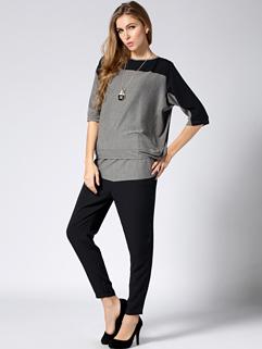 2014 Chic Casual Suits Color Block Long Sleeve Bandage Pockets Suits Asymmetric S-XXXL Active Wear