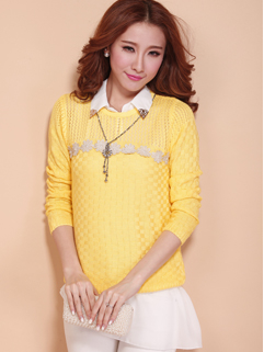 Multi-colors Style Two Pieces Top Polo Collar Long Sleeve Floral Pattern Pullover Hollow Out Beading Sweater