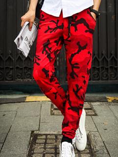 2014 Individual Eye-catching Pants Red Camouflage Slim Cut Drawstring Low Waist Long Pants M-XL