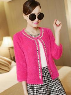 Wholesale New Coming Fashion Coat Leisure Smart Rhinestone Pure Color Three-quarter Sleeve Women Short Coat