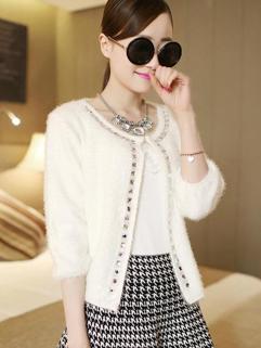 European Style Fashion Coat High Quality Chic White Rhinestone Decorated Three-quarter Sleeve Women Casual Coat