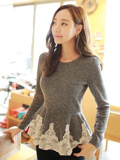 Korean Women Lace Blouse Princess Charming Female Top Work Office Wear For Sale