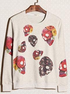 2014 New Wholesale Hoodies Color Block Skull Pattern Casual Beige Hoodies M-XXL