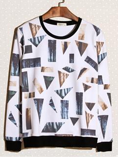 2014 Novelty Hoodies Color Block Geometric Printed Pattern Casual White Hoodies M-XXL