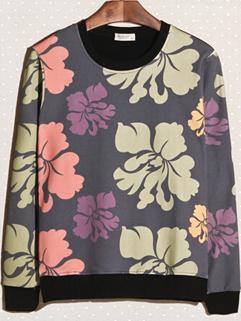 2014 Japanese Style Hoodies Color Block Gorgeous Flower Pattern Casual Black Hoodies M-XXL