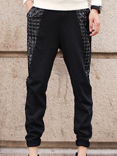 2014 Original Design Pants Pure Color Slim Cut Drawstring Mid Waist Pockets Long Black Splicing Pants M-XL