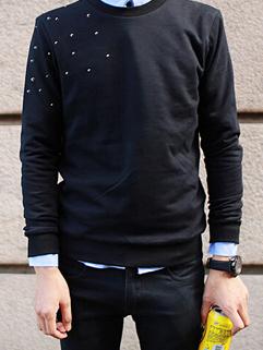 2014 New Autumn Hoodies Pure Color Rivet Decoration Round Collar Casual Black Hoodies M-XL