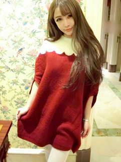 New Coming 2014 Autumn Fashion Sweater Sweet Chic Color Block Half Batwing Sleeve Women Casual Sweater
