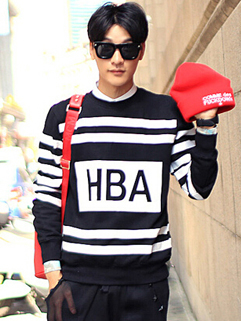 2014 European Hoodies Pure Color Striped Letter HBA Pattern Casual Black Hoodies M-XL