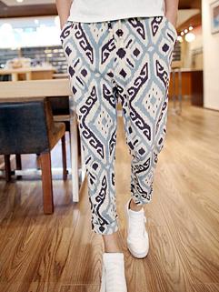 2014 Summer National Style Ninth Pants Skinny Printed Pattern Low Waist Ninth Pants M-XL