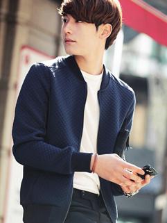 2014 Street Style Wholesale Jackets Color Block Baseball Neck Casual Dark Blue Jackets M-XL