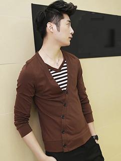 2014 Autumn Fashion False Two Pieces Tee Striped Round Collar Long Sleeve Cotton Coffee Tee M-XL