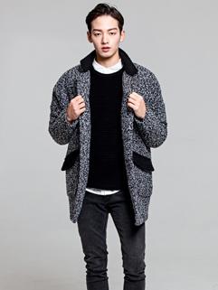 Exquisite Korean Style Long Coats Color Block Button Long Sleeve Lapel Casual Woolen Coats M-XL