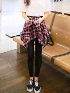 Autumn Winter Fashion Legging Slim Fitted Red Plaid Pattern Mid-Waist Women Korean Style Legging