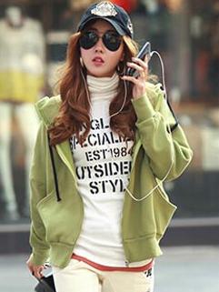 Fresh Korean Hoodie Cotton Zipper Up Short Coat Pure Color Sports Leisure Plus Size Style Wear For Sale