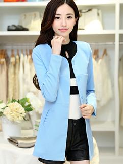 Plus Size M-XXL New Fashion Blazer Fitted Charming Blue Round Collar Long Sleeve Women Casual Blazer