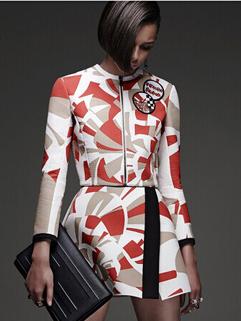 Individual Style 2014 Two Pieces Dress Color Block Long Sleeve Dress Zipper Wrap Dress