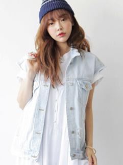 Korean Fresh Design Women Waistcoat Denim Pocket OL Work Style Leisure Style Wear