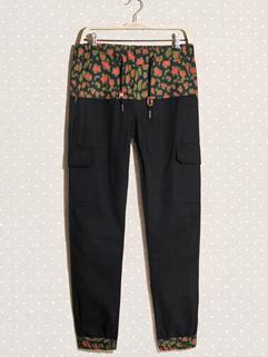 2014 American Style Pencil Pants Skinny Camouflage Splicing Mid Waist Long Black Pencil Pants M-XL