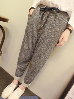 Fantastically Chic Pants Solid Color Button Drawstring Long Pants Mid Waist Casual Pants