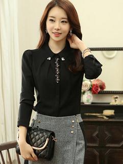 2014 Autumn Latest Chiffon Blouse Cozy Exquisite Beading Lapel Black Long Sleeve Women Casual Blouse For Sale