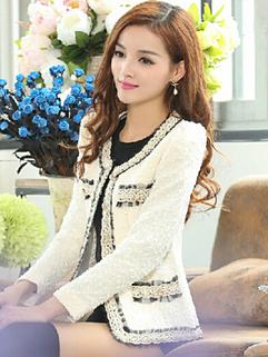 Hot Sale Women Coats Lace Matching Long Sleeve Fitted Coats Woolen Beige Coats