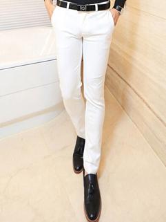2014 Simplicity Style Pants Skinny Pure Color Mid Waist Long White Cotton Pants 28-34