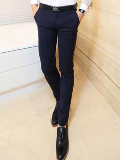 2014 Simplicity Style Pants Skinny Pure Color Mid Waist Long Blue Cotton Pants 28-34