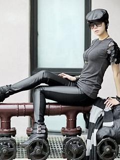 Punk Slim Women Leggings PU Euro And America Style Cool Rock Wear Pants