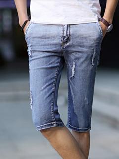 2014 Wholesale Newest Denim Pant Fashion Personality Hole Pure Color Mid-Waist Men Casual Wear Short Pant