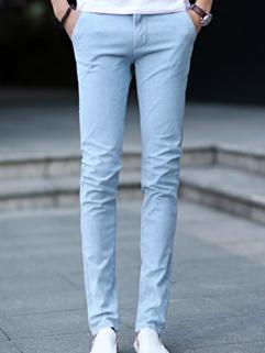 Wholesale High Quality Denim Pant Simple Durable Pure Color Zipper Mid-Waist Casual Wear Long Pant 28-34