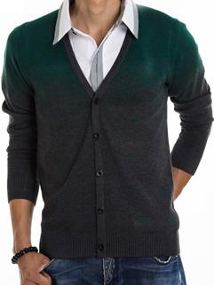 2014 Korean Style Sweater Color Block V Neck Cardigan Long Sleeve Green Sweater M-XXL
