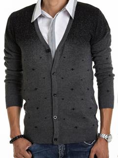 2014 Korean Style Sweater Color Block V Neck Cardigan Long Sleeve Dark Gray Sweater M-XXL
