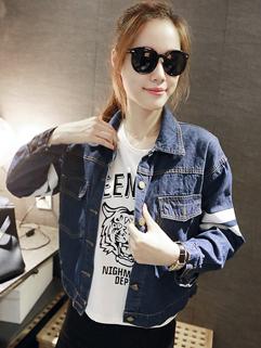 Korean Women Coat Oversize Letter Printing Slim Cut Denim Jacket Autumn Leisure Wear For Sale
