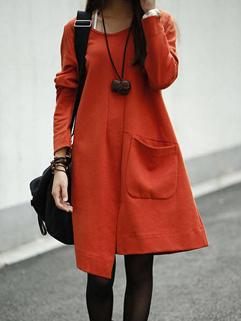 Hot Selling Individual Dress Long Sleeve Loose Pockets Dress 3 Colors Street Style Dress