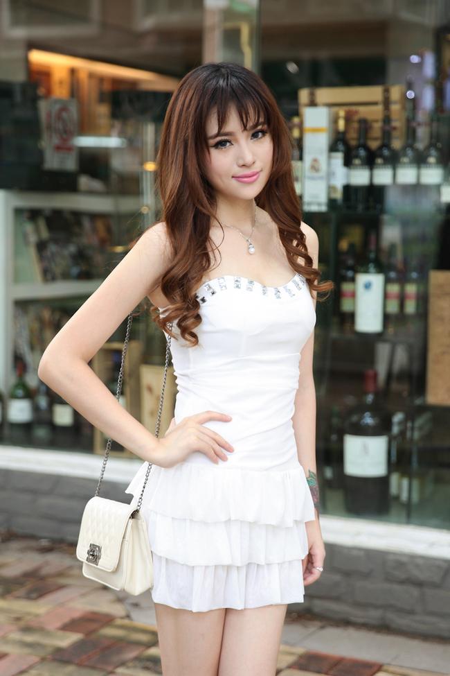 Fashion Korean Sweet Women Strapless White Dress Slim Cut Wrap Lace See Through Dress
