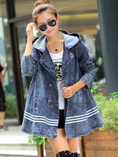 2014 Hot Selling Denim Jackets Hooded Collar Single-breasted Long Sleeve Casual Street Wear Women Jackets
