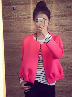 Active Charming Women Coat Zipper Top Pure Color Female Short Leisure Wear Wholesale Cloth
