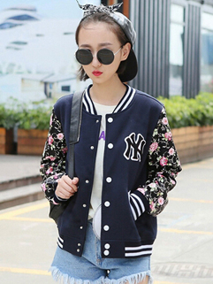 Floral Sleeve Baseball Coat Women Top Button  Printing Female Active Leisure Wear Wholesale Cloth