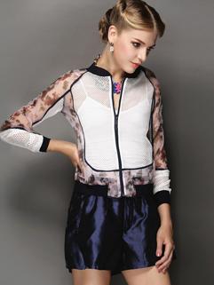European 2014 Chic Design Women Suit Smart Casual Round Neck Split Joint Gauze Lining Women Wear Suit