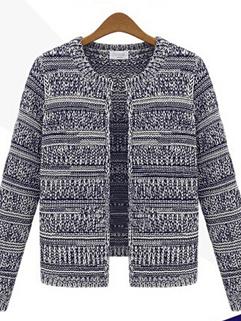 2014 Wholesale Autumn Winter European Coat Round Neck Striped Pattern Long Sleeve Casual Women Coat