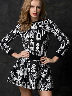 2014 European Style Autumn Chic Suit Hot Drilling Round Neck Mid-Waist Doodles Printing Catwalk Women Suit