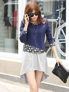 Wholesale Two Pieces Dress Floral Printing Plus Size S-XL Fashion Cheap Cloth Autumn Female Charming Wear