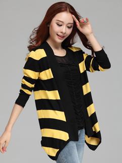 The Latest Design Preppy Style Slim Wear Asymmetrical Hem Coat Autumn Long Sleeve Striped Pattern Korean Coat