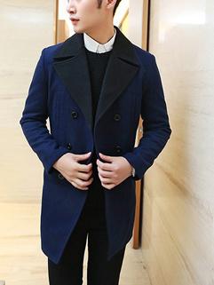 2014 High Quality Fashion Coat Cozy Lapel Long Sleeve Blue Cashmere Men Coat M-XXL