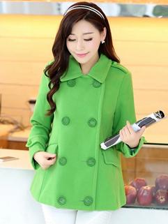 2014 Adorable Coats Long Sleeve Solid Color Lapel Coats Green Appointment Coats