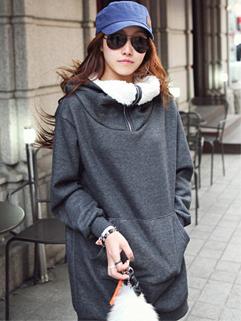 Korea Winter Hoodies Color Block Long Sleeve Pockets Hoodies MD-Long Loose Dark Gray Hoodies