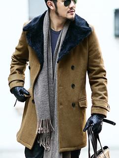 2014 Winter Wholesale Coats Cozy Lapel Long Sleeve Woolen Men Long Coats M-XXL